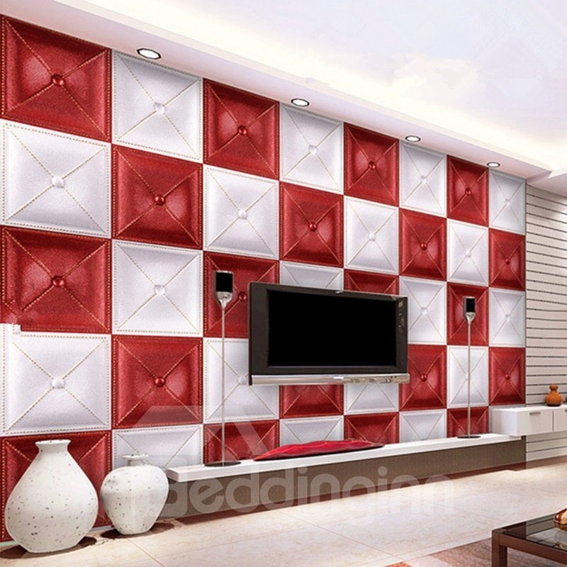Gorgeous Decorative White and Red Three-dimensional Plaid Pattern Wall Murals