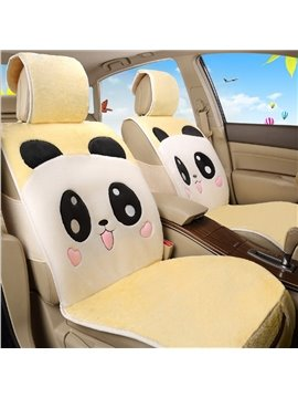 Lovely Panda Smiling Face Pattern Design Soft Short Plush Material Universal Car Seat Cover
