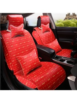 Charming Red Style Eiffel Tower Fashion Design Super Cost-Effective Durable PU Leather Material Universal Car Seat Cover