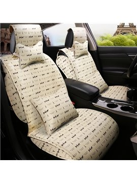 Popular Eiffel Tower And Classic Horse-Drawn Carts Pattern Design PU Material Universal Car Seat Cover