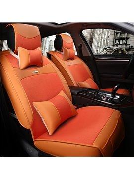Fresh Orange Color Fashion Design Luxury Durable PET Material Universal Five Car Seat Cover