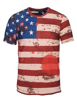 Round Neck American Flag Pattern Side Zipper 3D Painted T-Shirt