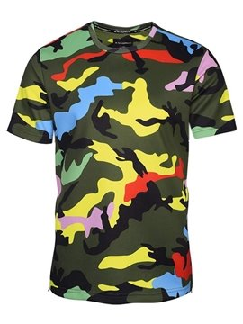 Bright Round Neck Camouflage Pattern Side Zipper 3D Painted T-Shirt