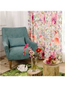 Floral Printed Ventilate Cotton and Linen Blending Custom Curtain
