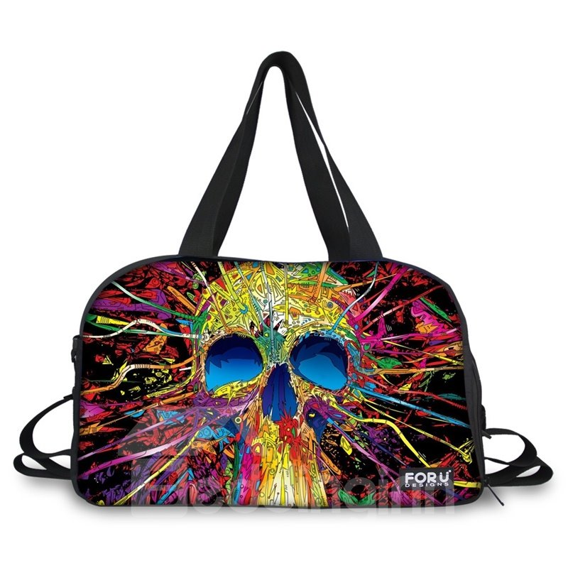 Fashion Colorful Skull Pattern 3D Painted Travel Bag