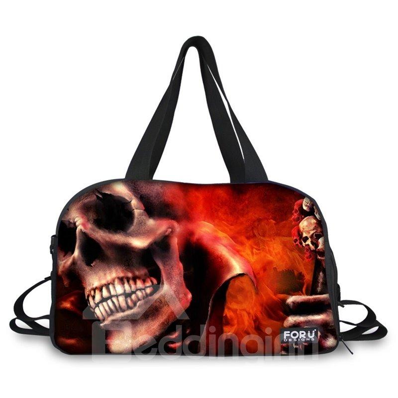 Cool Burgundy Skull Pattern 3D Painted Travel Bag