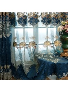 European Royal Style Chenille Embroidery Custom Sheer Curtain