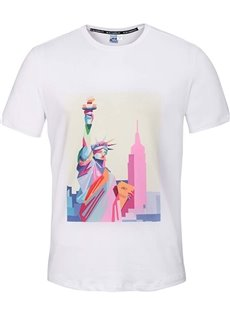 Cute Round Neck Statue of Liberty Pattern White 3D Painted T-Shirt