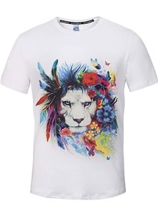 Cute Round Neck Lion with Garland Pattern White 3D Painted T-Shirt