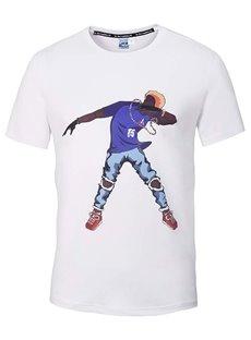 Round Neck Cartoon Dancer Pattern White 3D Painted T-Shirt