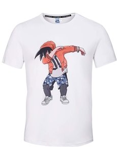 Round Neck Anime Man Dance Pattern White 3D Painted T-Shirt