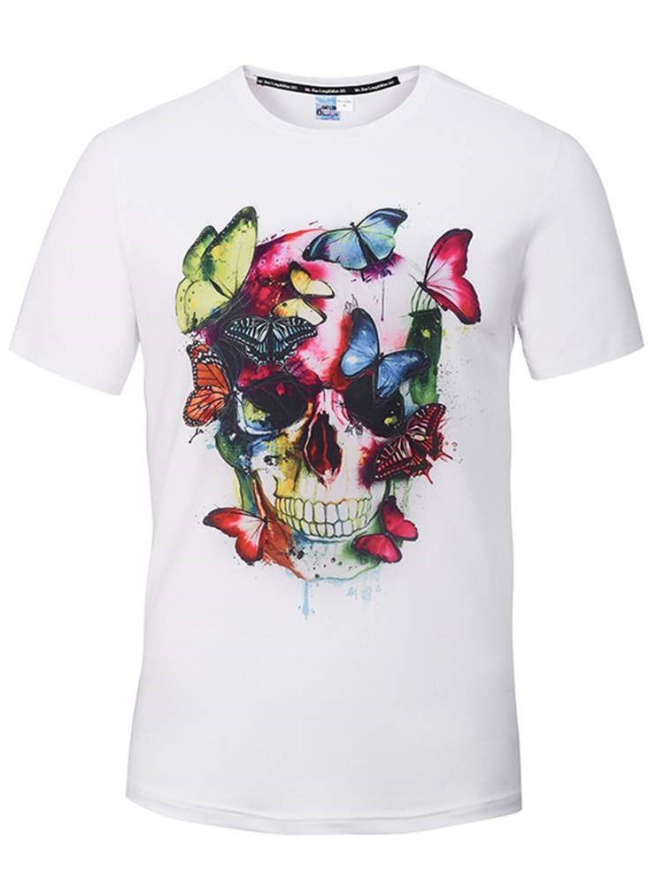 3ea38d293 ... Painted Clothing > Men's 3D T-Shirts · 49 Super Round Neck Skull with  Butterfly Pattern ...