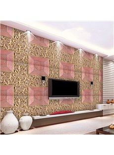 Bright Fashion Design Pink Plaid Pattern Living Room Decoration Wall Murals