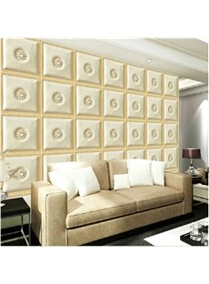 Beige Simple Style Regular Square Plaid Pattern Home Decorative Wall Murals