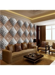 Realistic Grey and Coffee Square Plaid Pattern Living Room Decoration Wall Murals