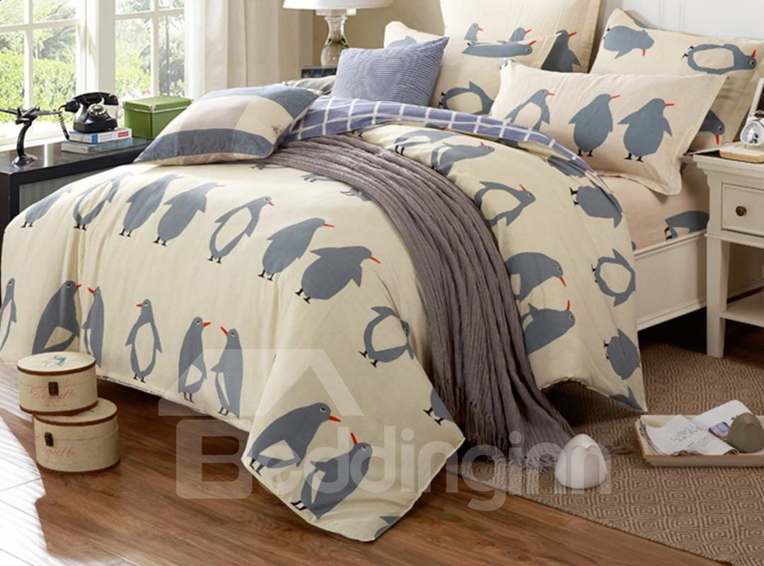 Super Cute Penguin Pattern Cotton 4-Piece Duvet Cover Set