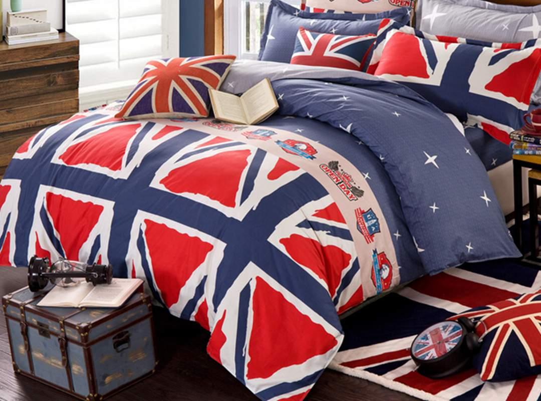 Popular Union Flag Pattern Cotton 4-Piece Duvet Cover Set