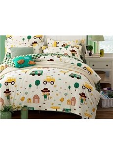 Lovely Cartoon Cars and Girls Pattern Cotton 4-Piece Duvet Cover Set