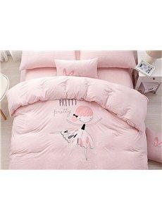 Adorable Pink Girl Pattern Cotton 4-Piece Duvet Cover Set