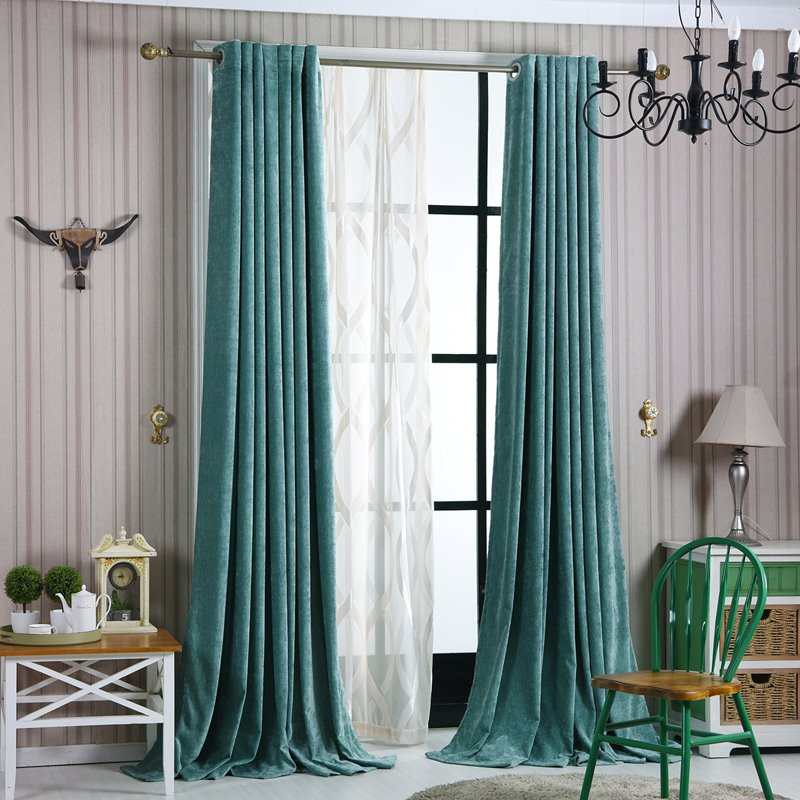 Contemporary Concise Blue Blackout Custom Curtain
