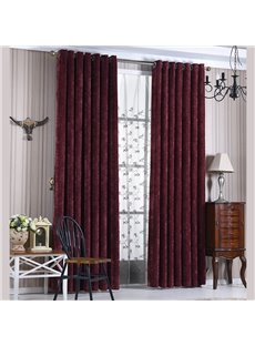 Contemporary Concise Red Blackout Custom Curtain