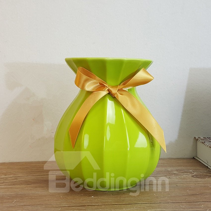 Gorgeous Fashion Light Green Ceramic with Bowknot Decoration Flower Vase
