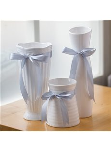 White Ceramic With Bowknot Decoration 1 Piece Flower Vase