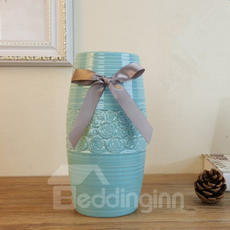 Modern Fashion Blue Ceramic with Bowknot Decoration Flower Vase