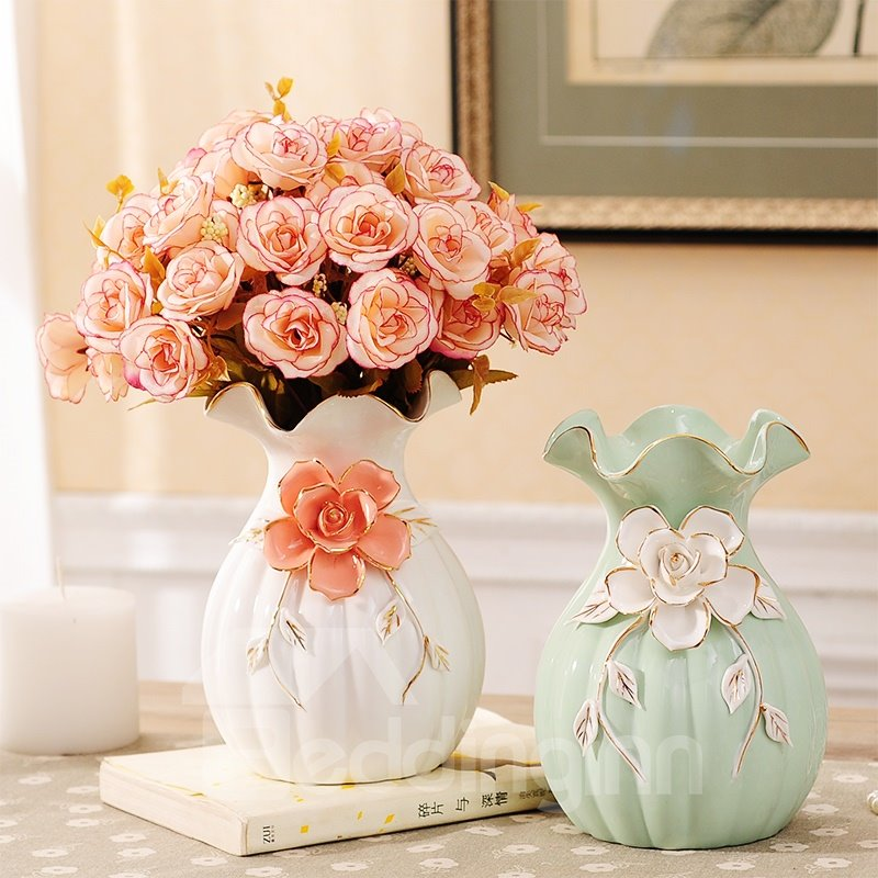 Elegant Ceramic European Style Flower Pattern Decoration Flower Sets
