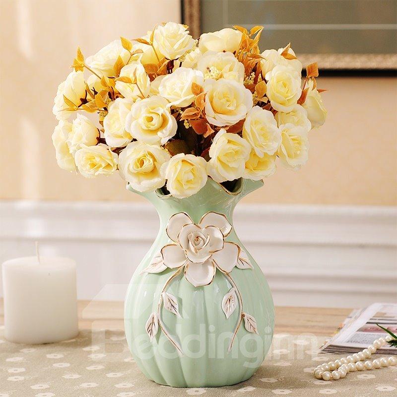 Elegant Ceramic European Style Flower Pattern Decoration Flower Sets