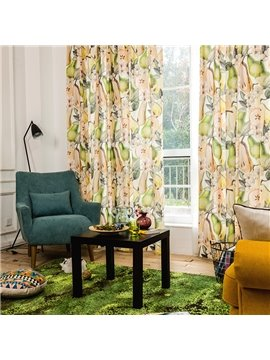 Chic Pear Printed Cotton and Linen Blending Custom Curtain