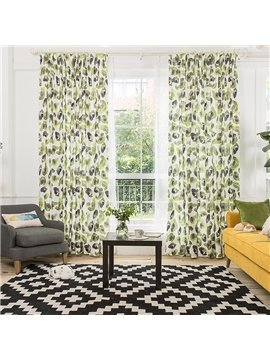 Avocado Printed Cotton and Linen Custom Curtain