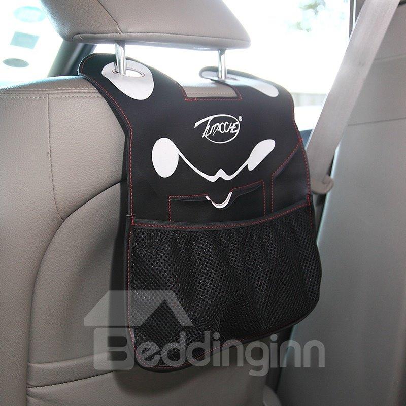Classic Black Design Cute Cartoon Character Face Durable PU Material High Capacity Car Chair-Back Organizer