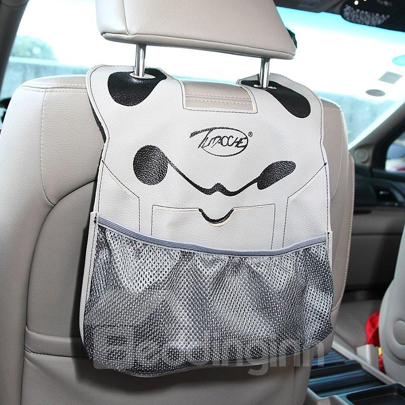 Cute Cartoon Character Face PU Material High Capacity Car Chair-Back Organizer