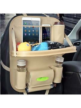 Popular Beige Multifunction Hanging Oxford With PU Material High Capacity Chair-Back Organizer