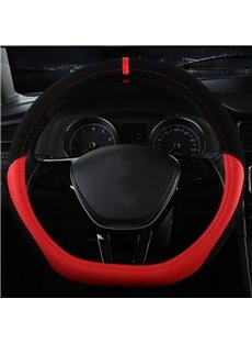 Luxury Creative D-Type Design With Durable Microfiber Leather Material Medium Car Steering Wheel Cover