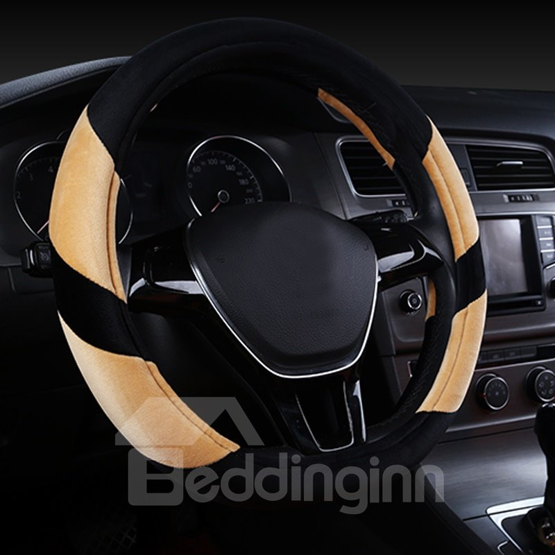 Super Popular Contrast Color Design Short Plush Material Comfortable Medium Car Steering Wheel Cover