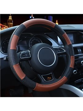 Comfortable Classic Special Designed Leather Material Contrast Color Steering Wheel Cover