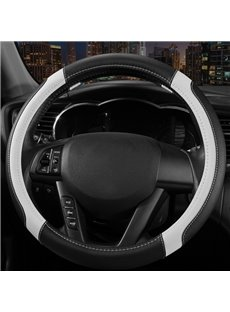 Classic Style Two Colors Squares Durable PU Material Car Steering Wheel Cover