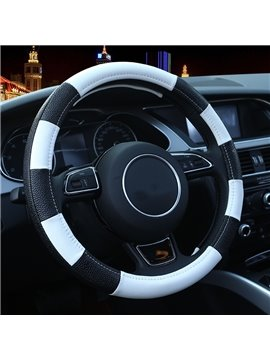 Black And White Strip Fashion Design Durable PU Leather Medium Car Steering Wheel Cover