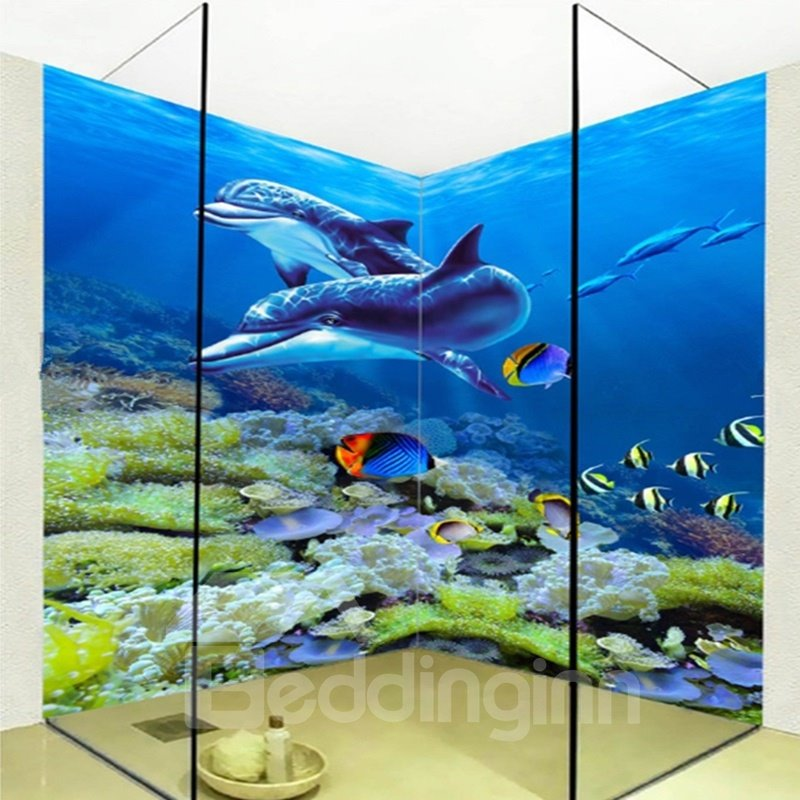Stylish Design Cute Dolphins and Fishes in the Sea Waterproof 3D Bathroom Wall Murals