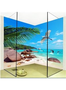 Blue Sky and Ocean Scenery Pattern Waterproof 3D Bathroom Wall Murals