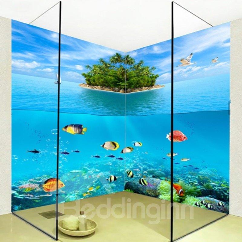 Modern Fishes in the Limpid Sea Pattern Waterproof 3D Bathroom Wall Murals