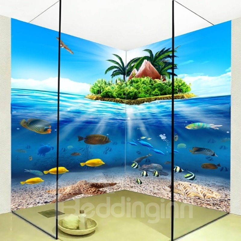 Lovely Fishes in the Blue Sea Pattern Waterproof 3D Bathroom Wall Murals