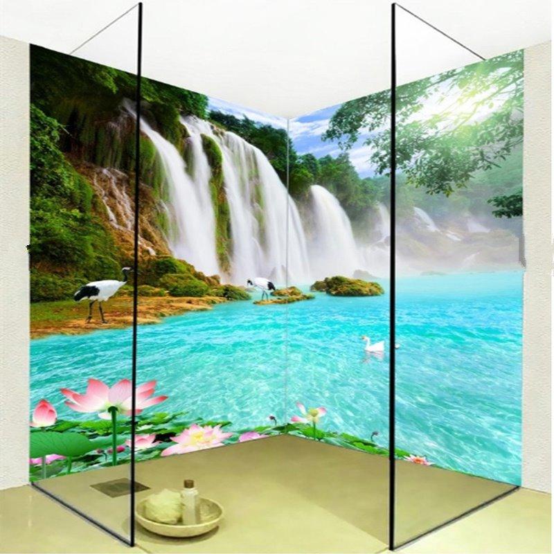 Waterfall and Lake 3D Waterproof Bathroom Wall Murals