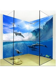 Natural Wales in Ocean Wave Pattern Waterproof 3D Bathroom Wall Murals