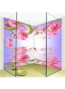 Pink Flowers and Goldfishes Pattern Waterproof 3D Bathroom Wall Murals