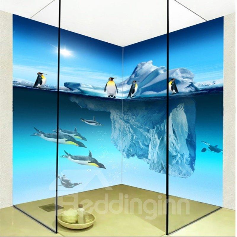 Cute Penguin Pattern Home Decorative Waterproof 3D Bathroom Wall Murals
