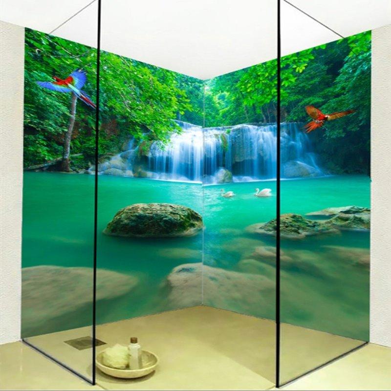Special Intermountain Waterfalls Pattern Waterproof 3D Bathroom Wall Murals