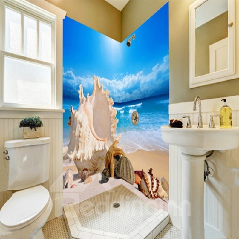 Seashells and Conches in the Seaside Pattern Waterproof 3D Bathroom Wall Murals